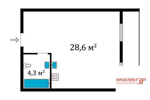 Продам студию 32,9 кв.м в доме у речки, Всеволожск, Комсомола, 27, Купить квартиру в Всеволожске, ID объекта - 330813480 - Фото 1