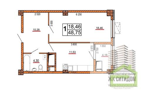 Однокомнатная квартира в ЖК ситидом на Есенина, 9 - Фото 1