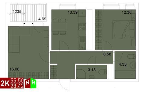 Продажа двухкомнатная квартира 55.50м2 в ЖК Квартал Новаторов секция в - Фото 1
