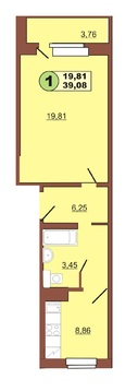 Продам 1-комн ул.Ленинского Комсомола д.37 площадью 39,08 кв.м.