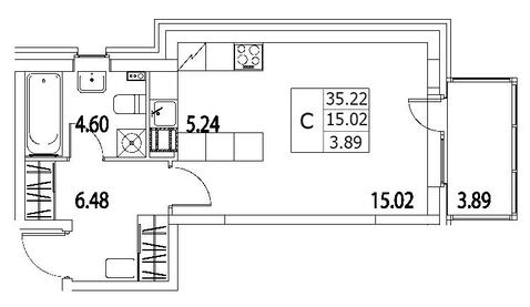 4 821 400 Руб., Продам студию. Приморский пр-кт, д.52 Т к.2-1, Купить квартиру в Санкт-Петербурге по недорогой цене, ID объекта - 317939947 - Фото 1