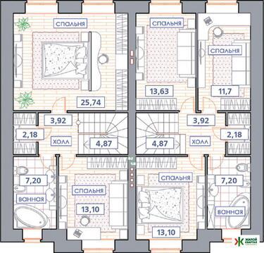 """2-этажный таунхаус проект """"Виктория"""" 117 м2 (Зубово Лайф) - Фото 4"""