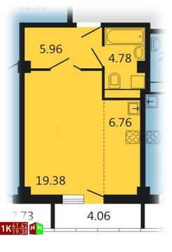 4 484 948 Руб., Продажа однокомнатная квартира 41.42м2 в ЖК Дипломат, Купить квартиру в Екатеринбурге по недорогой цене, ID объекта - 315127716 - Фото 1
