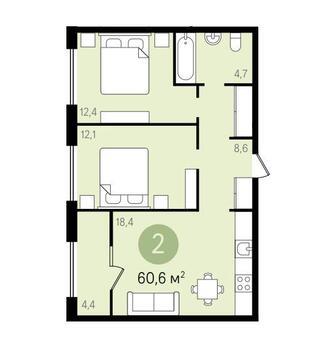 2-комнатная квартира 60,6 кв.м г.Видное - Фото 1