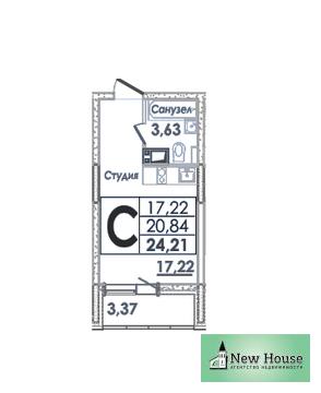 1-комнатная квартира Студия за 1 900 000 рублей в М.О, г. Ивантеевка - Фото 1