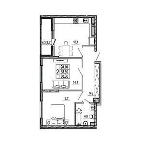 Предлагается к покупке отличная 2-комнатная квартира на 11/21 этаже - Фото 3