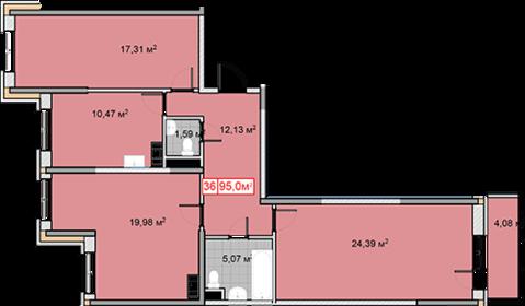 3-х ком. квартира, пл: 95 м2 в ЖК Новобулатниково рядом с м. Анинино - Фото 1