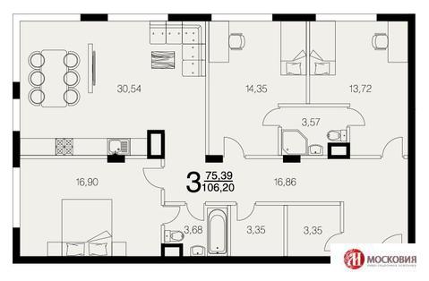 3-комнатная квартира 106 м2 Новая Москва, деревня Рогозинино. - Фото 3