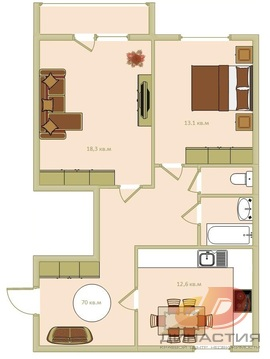 Двухкомнатная квартира, индивидуальное отопление - Фото 1