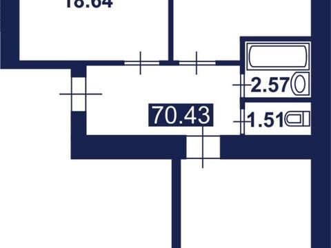 Продажа двухкомнатной квартиры на улице Строителей, 70 в Благовещенске, Купить квартиру в Благовещенске по недорогой цене, ID объекта - 320294241 - Фото 1