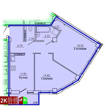 3 325 665 Руб., Продажа двухкомнатная квартира 66.68м2 в ЖК Рудный секция 1.3, Купить квартиру в Екатеринбурге по недорогой цене, ID объекта - 315127673 - Фото 1