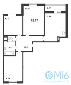 Продажа 3-комнатной квартиры, 75.77 м2 - Фото 2