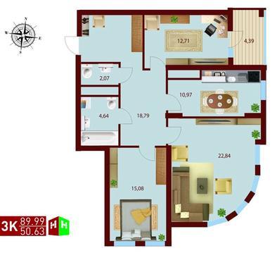 Продажа трехкомнатная квартира 89.99м2 в ЖК монтекристо секция б - Фото 1