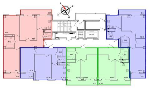 Продажа трехкомнатная квартира 84.75м2 в ЖК Рощинский дом 7.1. секции . - Фото 2