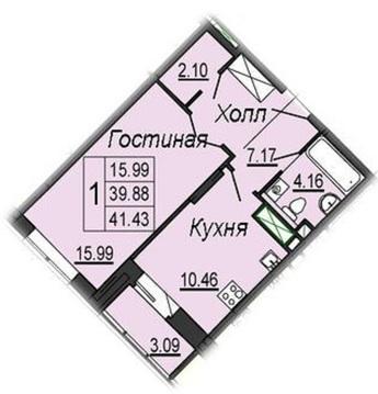 1-комнатная квартира 41.4 кв.м. в новостройке, ул. Кирова, д. 17