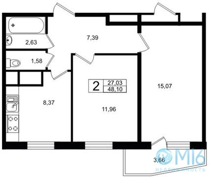 Продажа 2-комнатной квартиры, 48.1 м2 - Фото 2