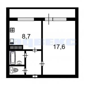 1 комн. квартира на Джона Рида, 10 к.1 - Фото 1