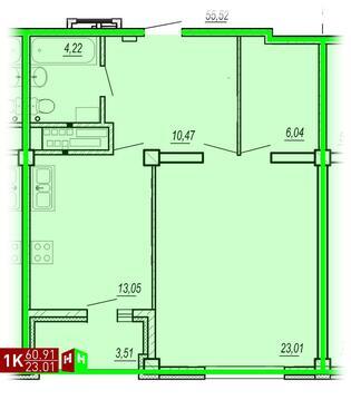 Продажа однокомнатная квартира 60.91м2 в ЖК Изумрудный секция а - Фото 1