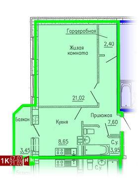 2 588 850 Руб., Продажа однокомнатная квартира 47.07м2 в ЖК Кольцовский дворик дом 1. ., Купить квартиру в Екатеринбурге по недорогой цене, ID объекта - 315127741 - Фото 1