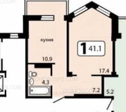 1 комнатная квартира 41 м.2, кухня - 11 м2, комната - 17,4 м.2