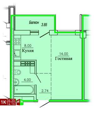 1 821 409 Руб., Продажа однокомнатная квартира 34.35м2 в ЖК Рудный секция 1.3, Купить квартиру в Екатеринбурге по недорогой цене, ID объекта - 315127695 - Фото 1
