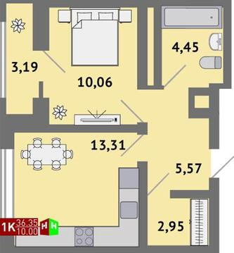 Продажа однокомнатная квартира 36.35м2 в ЖК Солнечный гп-1, секция к - Фото 1