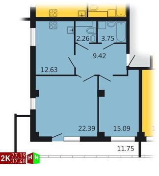 Продажа двухкомнатная квартира 77.19м2 в ЖК Дипломат - Фото 1