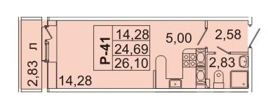 Продам студию. Кондратьевский пр-кт, д.58 к.1-1, Купить квартиру в Санкт-Петербурге по недорогой цене, ID объекта - 317898359 - Фото 1
