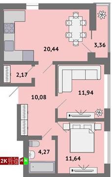3 550 000 Руб., Продажа двухкомнатная квартира 60.54м2 в ЖК Солнечный гп-1, секция к, Купить квартиру в Екатеринбурге по недорогой цене, ID объекта - 315127610 - Фото 1