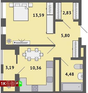 Продажа однокомнатная квартира 37.06м2 в ЖК Солнечный гп-1, секция а - Фото 1