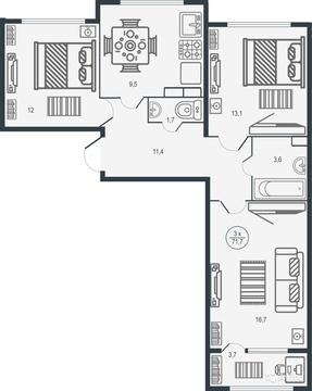 Трехкомнатная квартира в новом ЖК - Иллидиум - Фото 2