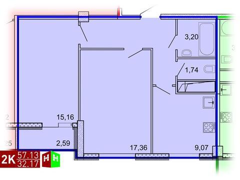 Продажа двухкомнатная квартира 57.13м2 в ЖК Рощинский дом 7.1. секции . - Фото 1