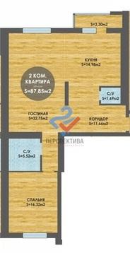 2-к, 87,85 кв.м ул. Менделеева, 150/7, 14/23 этаж, ЖК Лимонарий - Фото 3