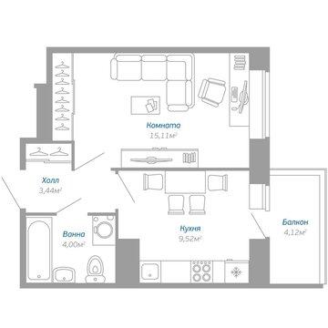 Продажа 1-комнатной квартиры, 33.31 м2, Воронцовский бульвар, к. 3 - Фото 1