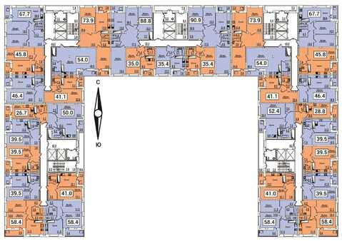1-к.квартира (54м2), индивидуальный теплосчетчик, ЖК Восточный экспрес - Фото 5