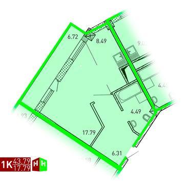 Продажа однокомнатная квартира 43.79м2 в ЖК Рощинский дом 7.2. секция . - Фото 1