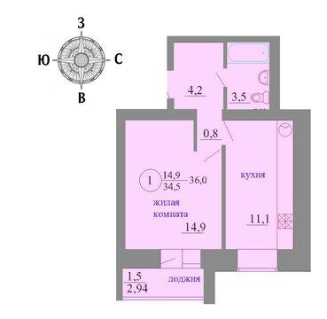 Продажа 1-комнатной квартиры, 35.8 м2, Березниковский переулок, д. 34 - Фото 1