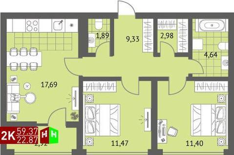Продажа двухкомнатная квартира 59.37м2 в ЖК Суходольский квартал гп-1, ., Купить квартиру в Екатеринбурге по недорогой цене, ID объекта - 315127600 - Фото 1