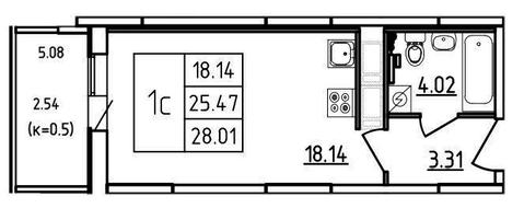 1 820 650 Руб., Продам студию. Екатерининская ул. к.2, Купить квартиру Мурино, Всеволожский район по недорогой цене, ID объекта - 318429546 - Фото 1