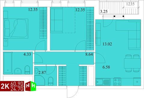 Продажа двухкомнатная квартира 60.90м2 в ЖК Квартал Новаторов секция д - Фото 1