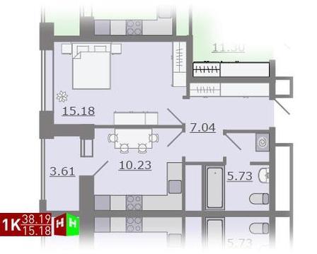 Продажа однокомнатная квартира 38.19м2 в ЖК Каменный ручей гп-1 - Фото 1