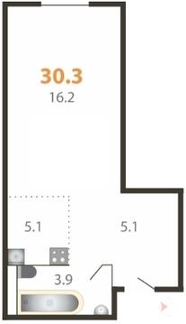 Студия, 30,3м, 2/5 эт. Большие Жеребцы, мкр. Восточный к3 - Фото 1