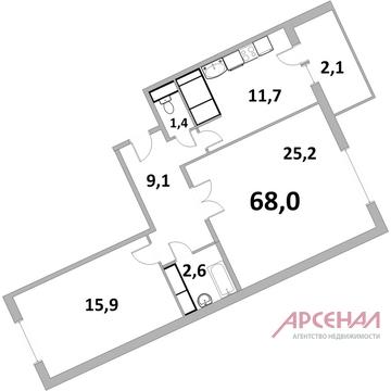 "2-х комн. кв-ра ЖК ""Центр+"" г. Железнодорожный - Фото 4"