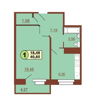 Продам 1-комн ул.Ленинского Комсомола д.37, площадью 40,85 кв.м, на 5
