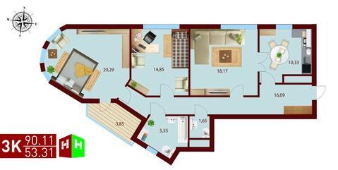 Продажа трехкомнатная квартира 90.11м2 в ЖК монтекристо секция а - Фото 1