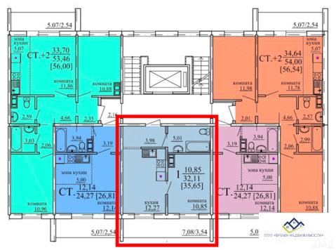 Продам однокомнатную квартиру Гранитная д33 35,65 кв.м 3 эт - Фото 1