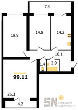 3-ком квартира в новостройке - Фото 2