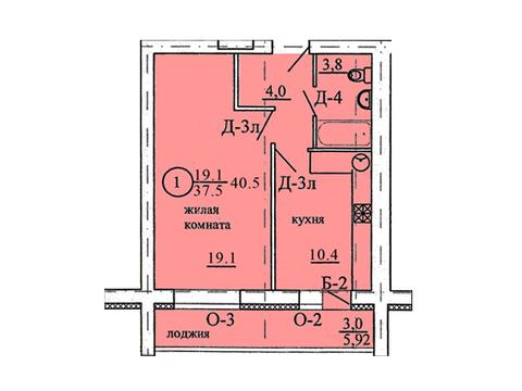 Продажа 1-комнатной квартиры, 40.5 м2, Березниковский переулок, д. 34 - Фото 1