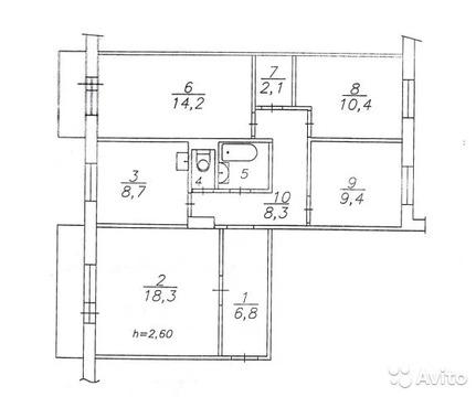 4-к квартира, 81.8 м, 7/9 эт. - Фото 1