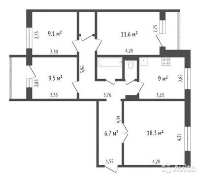 4-к квартира, 82 м, 4/9 эт. - Фото 1